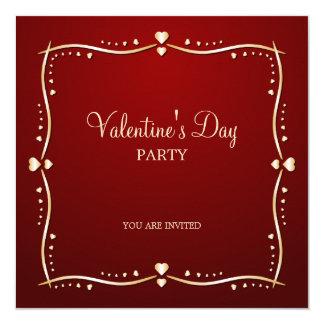 Golden Hearts Valentine's Day party invitation