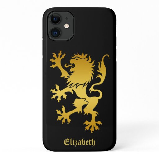 Golden Heraldic Lion gold gradient rampant lion iPhone 11 Case
