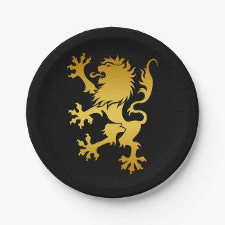 Golden Heraldic Lion Paper Plate