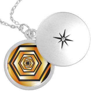 Golden hexagon locket necklace