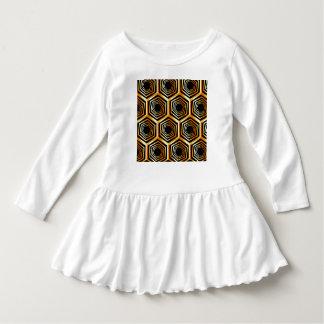 Golden hexagonal optical illusion dress