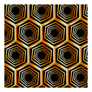 Golden hexagonal optical illusion poster
