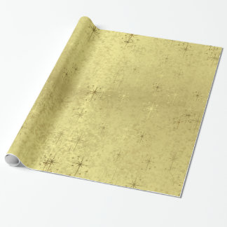 Golden Holiday Christmas Stars on Metallic Texture Wrapping Paper
