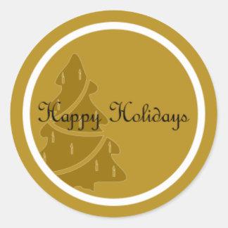 Golden Holiday Classic Round Sticker