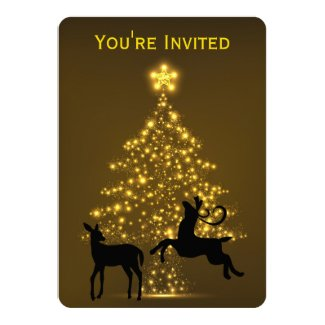 Golden Holiday Tree with Silhouette Deer Wedding 5x7 Paper Invitation Card