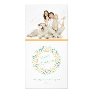Golden Holiday Wreath Holiday Card