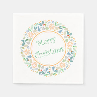 Golden Holiday Wreath Paper Napkin