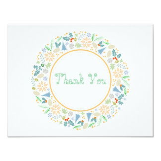 Golden Holiday Wreath Thank You Card