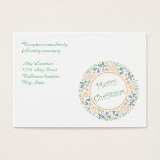 Golden Holiday Wreath Wedding Reception Card