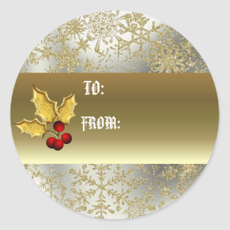 Golden holly gift tag classic round sticker