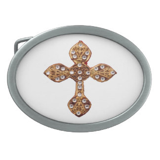Golden Holy Cross Oval Belt Buckle