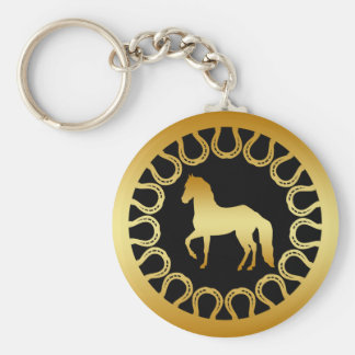 GOLDEN HORSE AND HORSESHOES KEY CHAINS