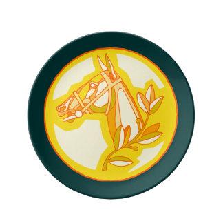 Golden Horse Head Porcelain Plate