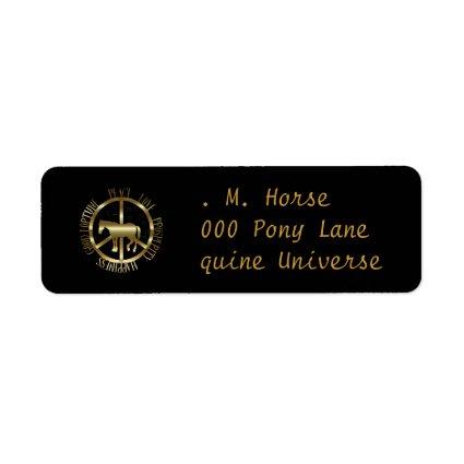 Golden Horse Of Peace Custom Return Address Labels