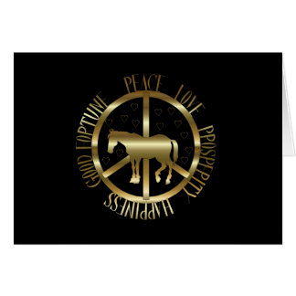Golden Horse Of Peace Stationery Note Card