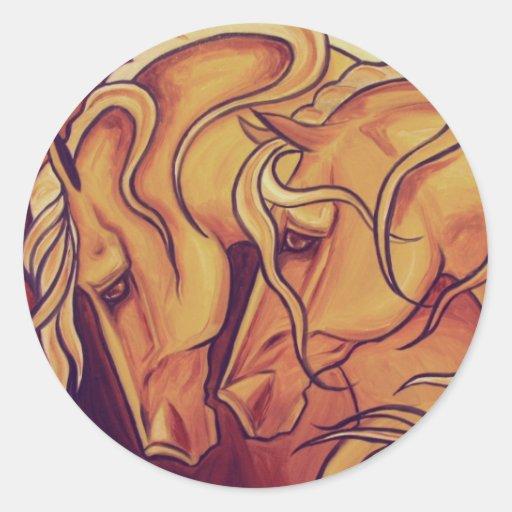 Golden Horses Round Sticker