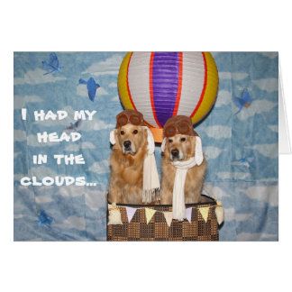 Golden Hot Air Balloon Belated Birthday Greeting Card