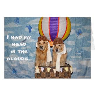 Golden Hot Air Balloon Belated Birthday Greeting Card