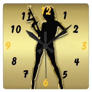 Golden Hot Chick With Gun Square Wallclock