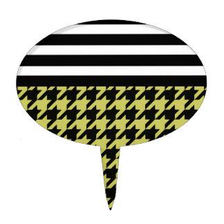 Golden Houndstooth w/ Stripes 2 Cake Topper