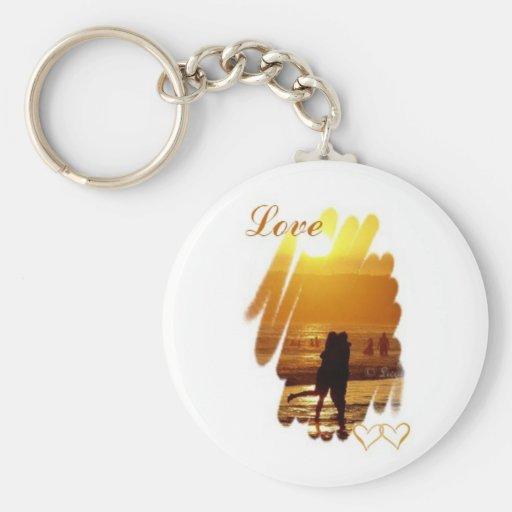 Golden Hug Love Basic Round Button Keychain