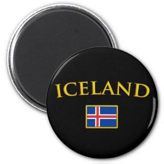 Golden Iceland 2 Inch Round Magnet