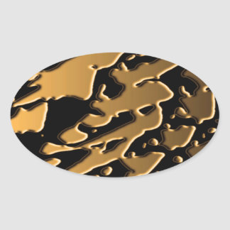 Golden Imbossed Waves Oval Sticker