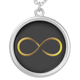 Golden Infinity Symbol   Geek Round Pendant Necklace