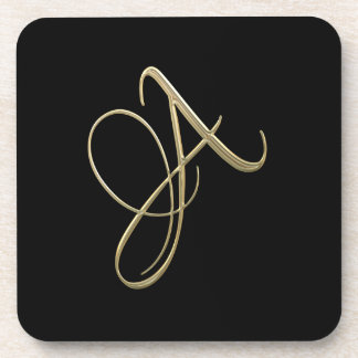 Golden initial A monogram Coaster