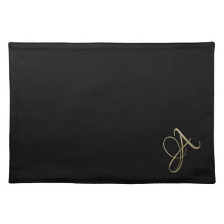 Golden initial A monogram Placemat
