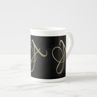 Golden initial A monogram Tea Cup