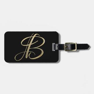 Golden initial B monogram Bag Tag