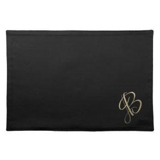 Golden initial B monogram Cloth Placemat