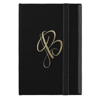 Golden initial B monogram Cover For iPad Mini