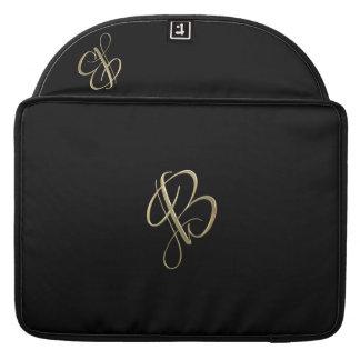 Golden initial B monogram Sleeves For MacBook Pro