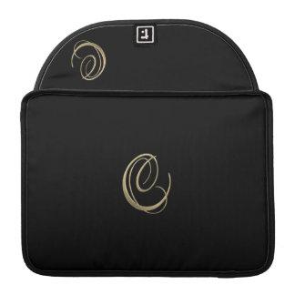 Golden initial C monogram Sleeve For MacBook Pro