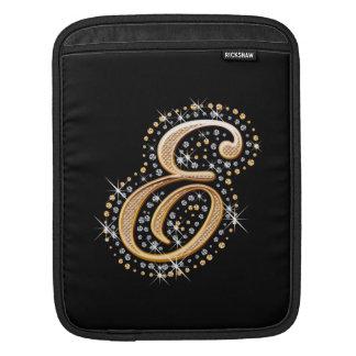 Golden Initial E - iPad Sleeve
