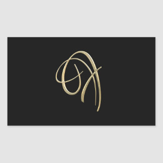 Golden initial F monogram Rectangular Sticker