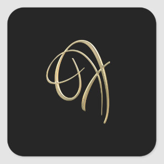 Golden initial F monogram Square Sticker