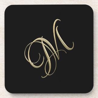 Golden initial M monogram Beverage Coaster