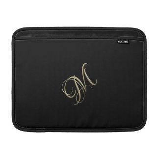 Golden initial M monogram MacBook Sleeves