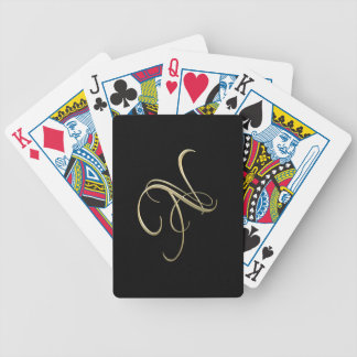 Golden initial N monogram Bicycle Playing Cards