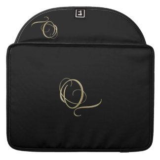 Golden initial Q monogram Sleeves For MacBook Pro