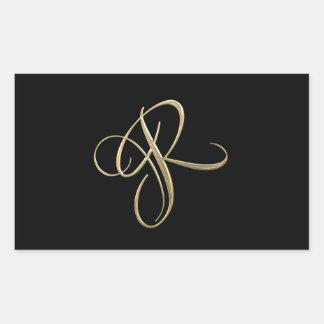 Golden initial R monogram Rectangular Sticker