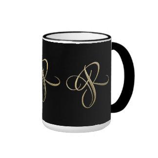 Golden initial R monogram Ringer Mug