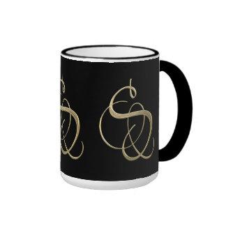 Golden initial S monogram Ringer Coffee Mug