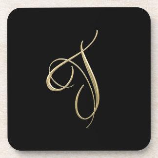 Golden initial T monogram Coaster