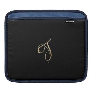 Golden initial T monogram Sleeve For iPads