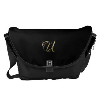 Golden initial U monogram Messenger Bag