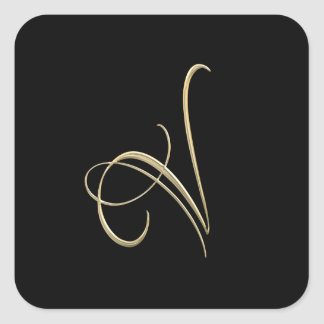 Golden initial V monogram Square Sticker